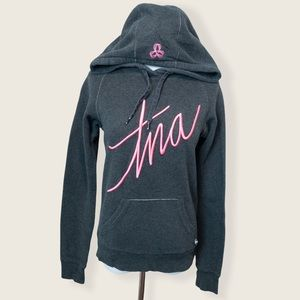TNA Grey Hoodie with Pink Script Logo - Size XSmall